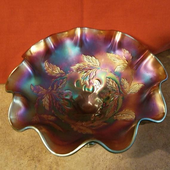DUGAN CHERRIES and leaves purple 3 legs ruffled bowl