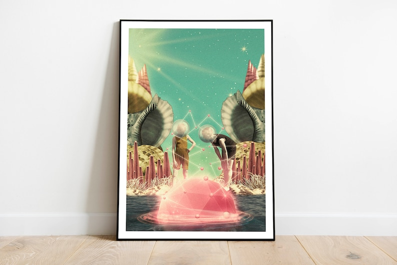 Surrealism beach vintage collage colourful sci-fi image 0