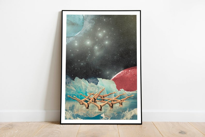 Surreal space swimmers collage art surrealism wall art image 0