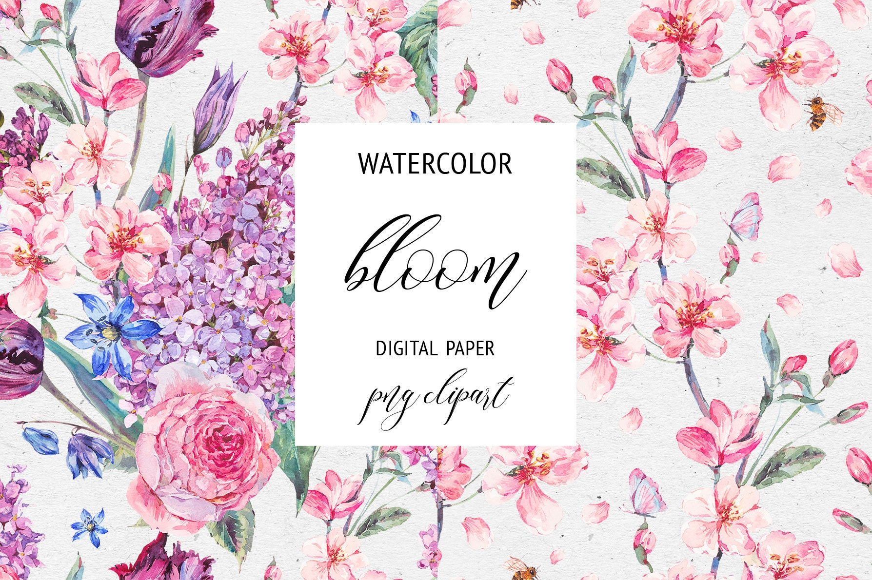 Watercolor Blooming Branches Of Cherry Digital Paper Seamless Etsy