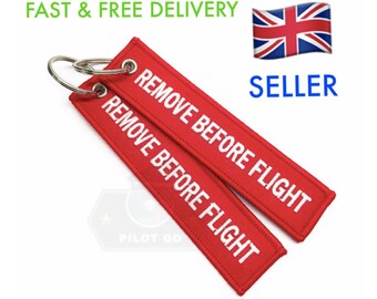 0fa7cc8faf2 Red REMOVE BEFORE Flight Embroidered Luggage Tag Key Chain Ring AviationUK  STOCK