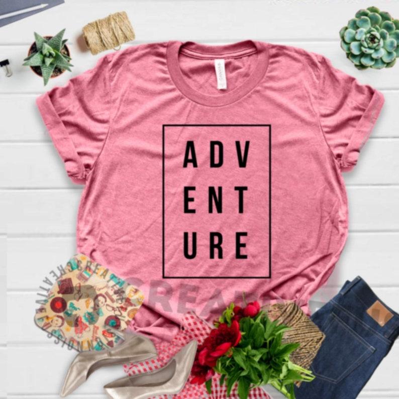 2a370165 Adventure tee shirt, travel shirt, mountain shirt, hike shirt, hiking  shirt, explore shirt, happy camper t shirt, camping shirt