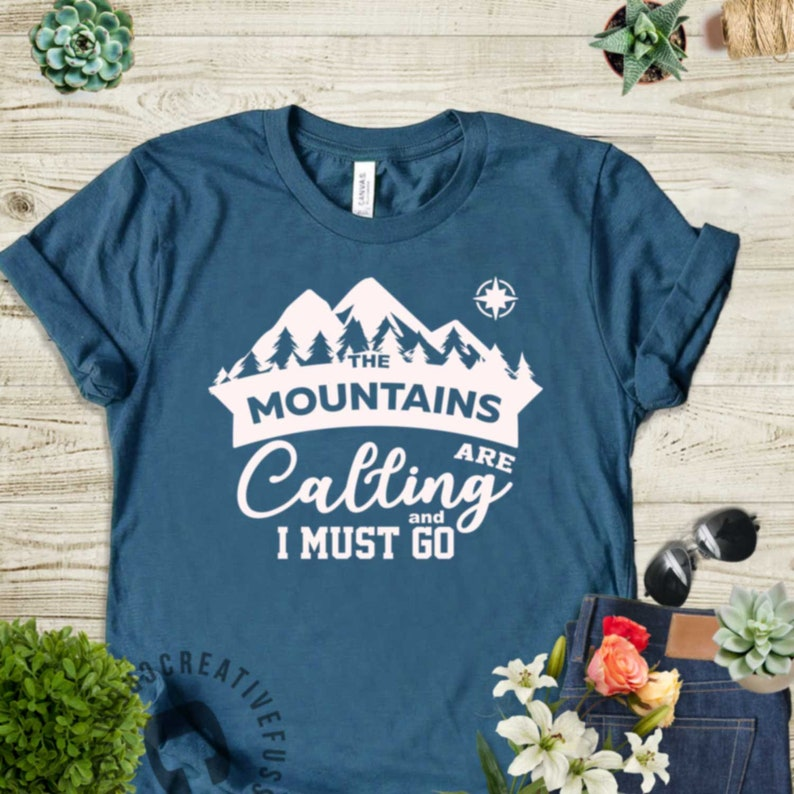 The Mountains Are Calling t shirt camping camper climbing S-3XL