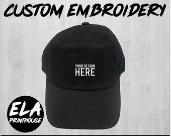 e8efc9c39320d Custom Hat Embroidery - Black Dad Hat - Custom Stitching - Custom Dad Hat -  Personalized Hat