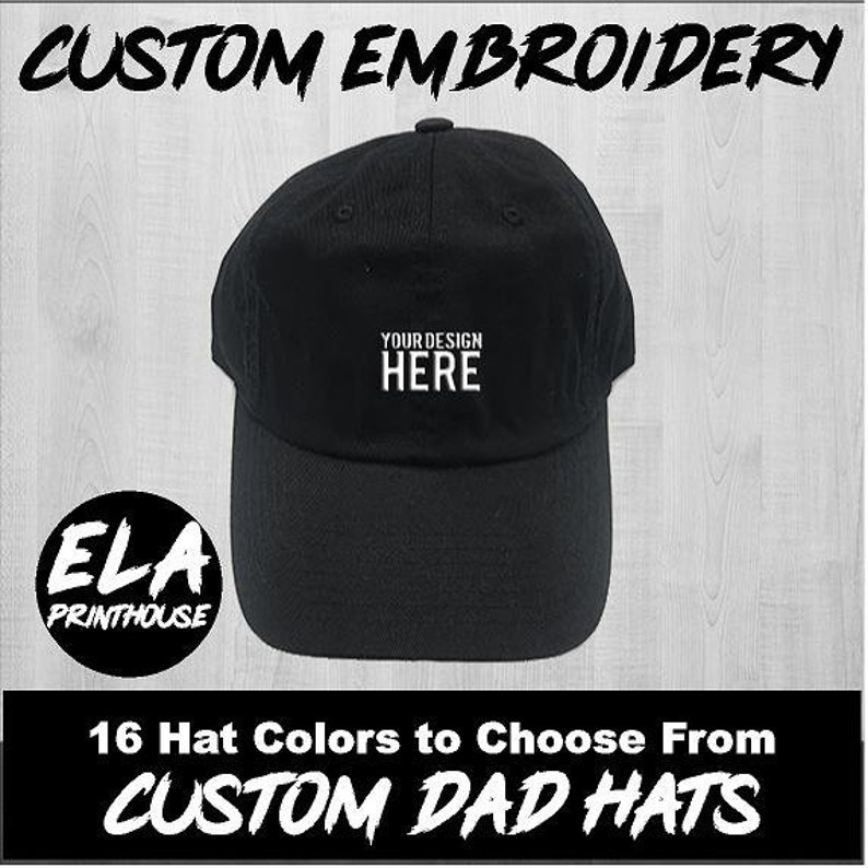 b700152a Custom Hat Embroidery - Black Dad Hat - Custom Stitching - Custom Dad Hat -  Personalized Hat
