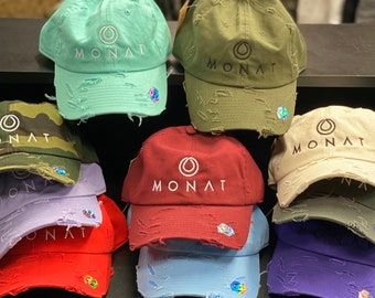 Embroidered Monat Hat Distressed   Monat Dad Hat   Monat Marketing   Monat Business    Shampoo Dealer