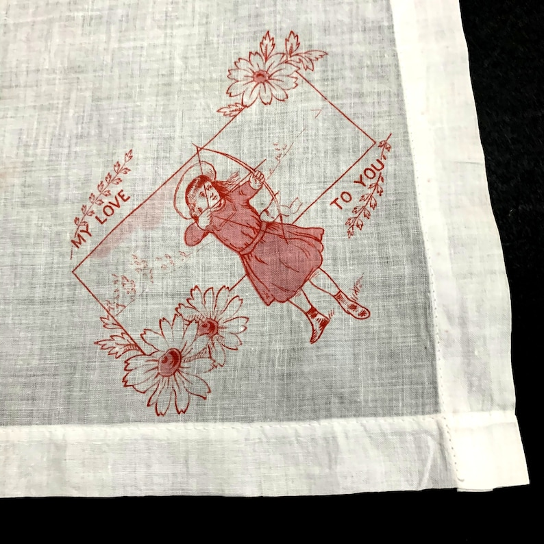 Antique Child Handkerchief Hankie Hanky Embroidered Initials My Love to You
