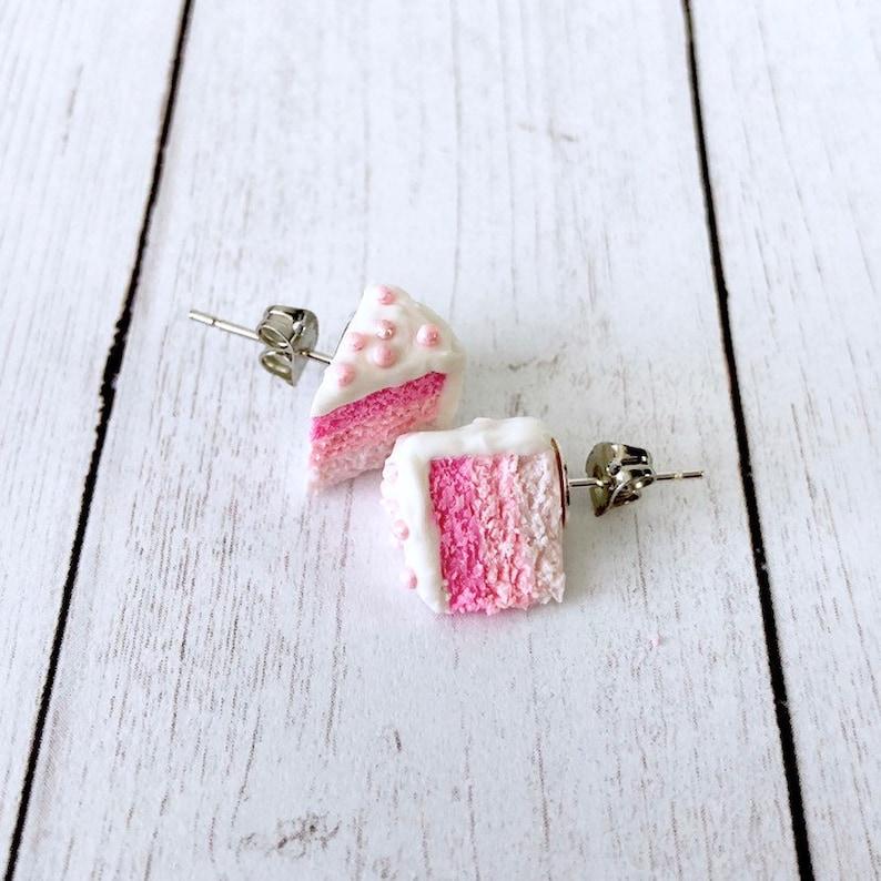 Princess Pink Cake Stud Earrings