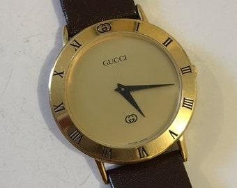 a2c9508daeff Original Gucci 3000M SWISS Roman Numeral Bezel Classic Men's Watch New  Battery Original Band