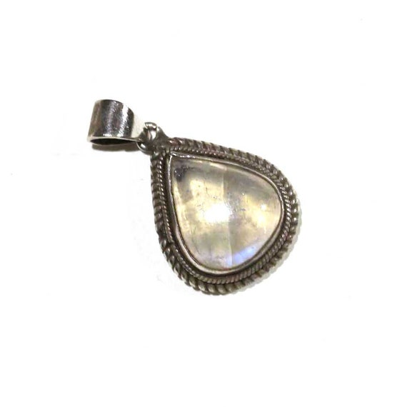 Vintage Sterling Clear Striped Smokey Agate Tear Drop Opalescent Cloudy Round Silver Rope Frame Abstract Bean Modernist Minimalist Pendant