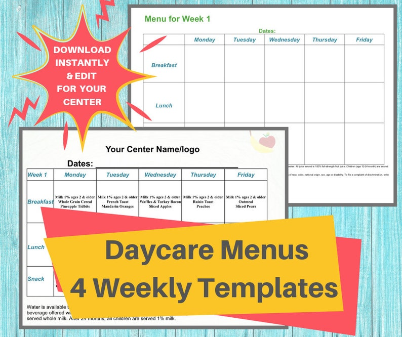 DAYCARE WEEKLY MENUS/ Childcare Center Printable Menu Templates/ Perfect for Preschool, In Home, Child Care Business