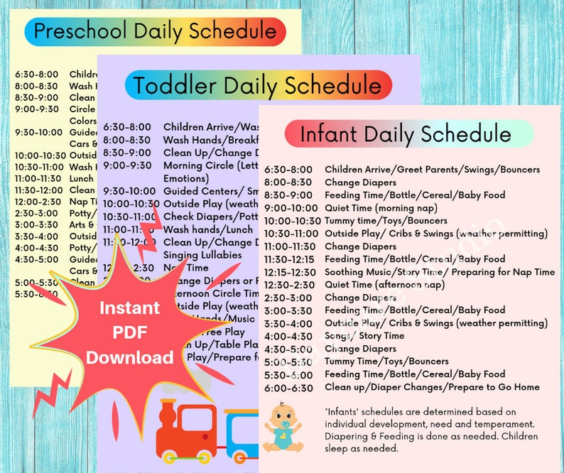 daycare daily schedules  childcare center printable