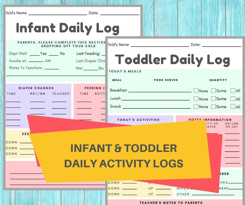 image relating to Baby Daily Log Printable titled Baby Each day LOG- Daycare Printable Kid Log / Newborn Child Every day Timetable Write-up / Day-to-day Newborn Sheet for Dad or mum Conversation
