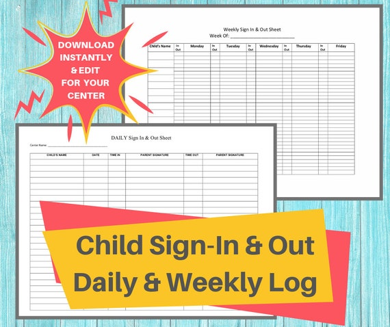 Sign In Out Log Daycare Printable Daily And Weekly Sign In Etsy