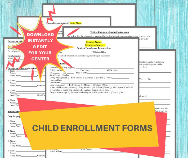 picture about Printable Daycare Forms identified as DAYCARE ENROLLMENT Sorts/ Childcare Middle Printable Daycare Deal / Suitable for Preschool, Inside of Household, Boy or girl Treatment Place of work, 6 Term Webpages
