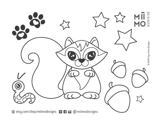 Coloring Pages For Kids Ipad Pro Squirrel Pdf File Digital Etsy
