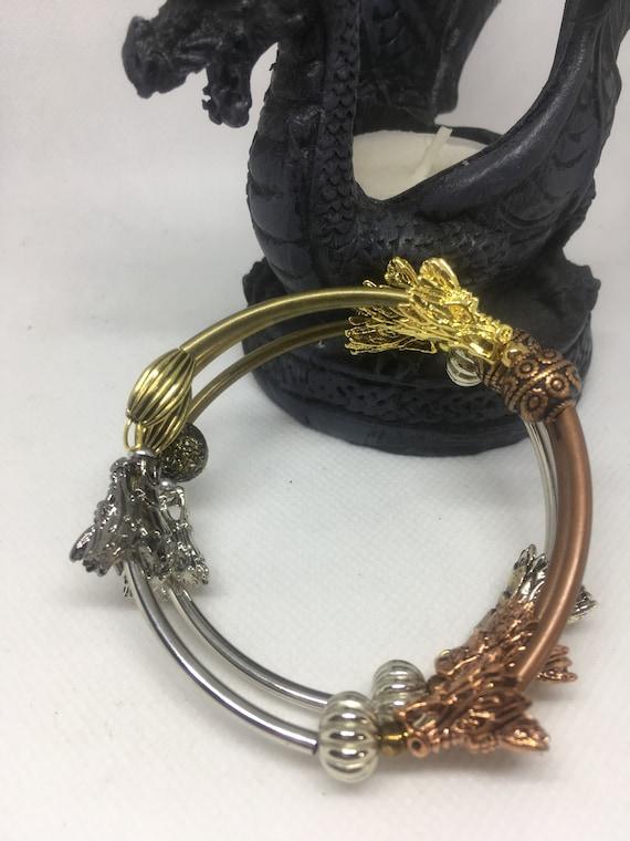 Game of Thrones style dragon, fantasy Tibetan Silver Dragon Bracelet