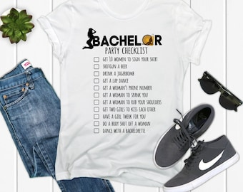 78e9eb5c Bachelor Party Checklist Bridal Party Shirts | Bachelor Party Shirt | Stag Party  Best Man Gift | Funny T-Shirt