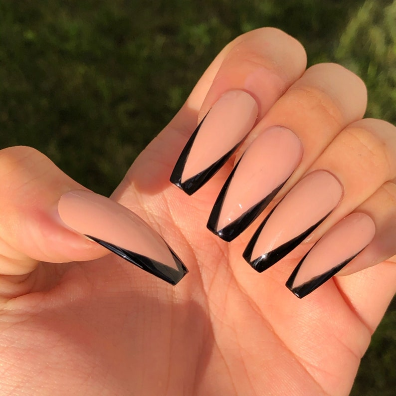 Black V cut Nude French Gel nails  Hand Painted Press On Gel image 0