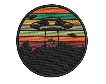 Spaceship Embroidered Iron andor Sew-On Patch UFO Flying Saucer