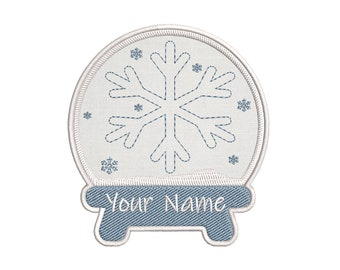 YOUR NAME SNOW GLOBE Custom Christmas Embroidered Name Tag Patch IRON-ON