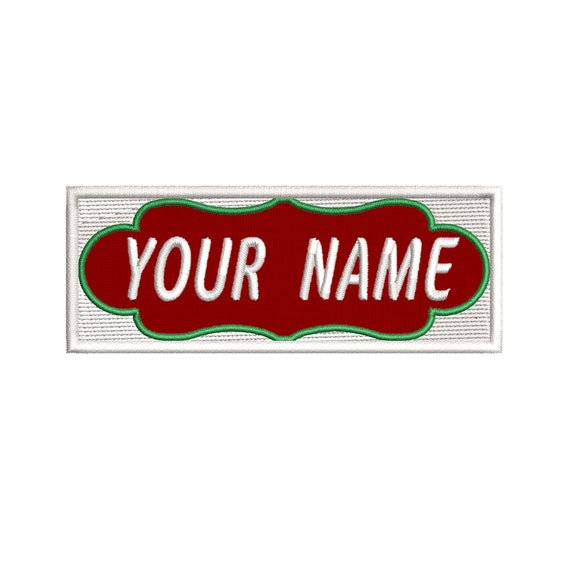 Personalized Christmas Stocking Iron-on Name Patch Appliqu\u00e9 4.75 REDWhite Embroidered ONE
