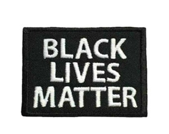 """Black Lives Matter Embroidered 2.5"""" x 1.8"""" BLM Hook & Loop Martin Luther King Peaceful Civil Disobedience I Can't Breathe"""