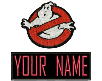 """CHILD Set of Two - one """"No Ghost"""" Logo Patch and one Custom Name Patch Value Pack Embroidered Iron On / Sew On Patch Halloween Costume Vest"""