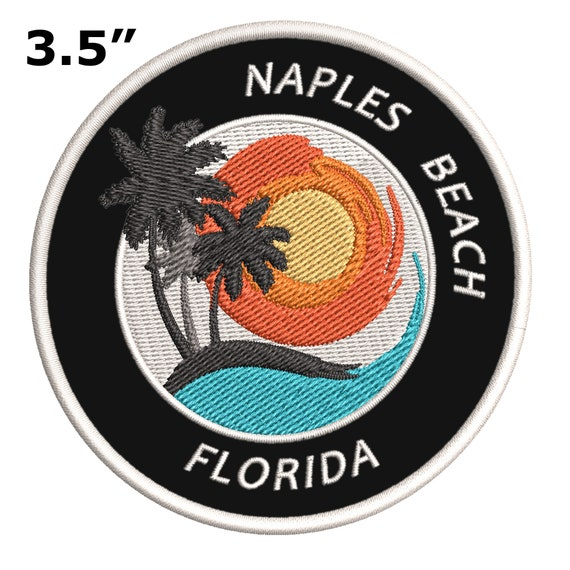 """Flip Flops Naples Beach Florida 3.5/"""" Embroidered Iron or Sew-on Patch"""
