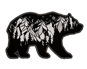 """LARGE Bears Mountains Stars Moon 10"""" W x 6"""" T Iron-on or Sew-on Outdoor Adventure Embroidered Patch Souvenir Travel Vacation Series"""