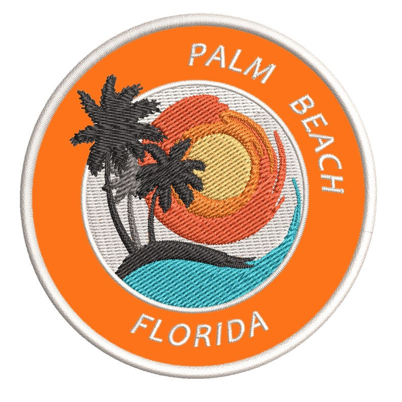 Florida 3.5 Iron-on or Sew-on Beach Life Ocean Adventure Tropical Embroidered Patch Souvenir Travel Vacation Series Palm Beach