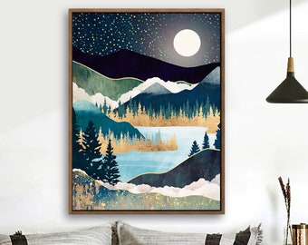 Wood Framed Canvas Home Artwork Decoration Nordic Style Abstract Color Canvas Wall Art for Living Room, Bedroom, Office Nordic A07