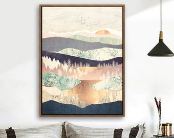 Wood Framed Canvas Home Artwork Decoration Nordic Style Abstract Color Canvas Wall Art for Living Room, Bedroom, Office Nordic A15