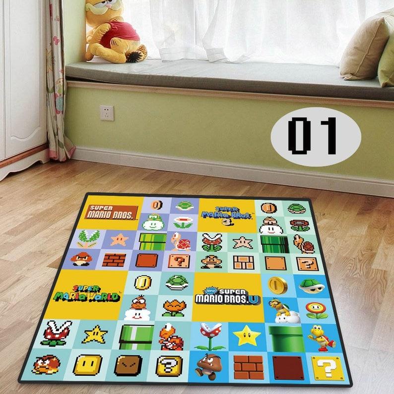 Super Mario Bros Cool Anime Floor Rug Carpet Living Room Bedroom Doormat  Non-slip Chair Mat Custom Made