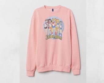96c209dd6 Sailor Moon retro Pink Sweatshirt Custom Cotton Jumper Top Retro sweater Unisex  Men