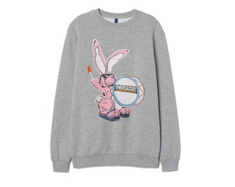 cbf566149b7 Energizer Bunny Sweatshirt Inspired Cotton Jumper Top Retro Patch Unisex  Women