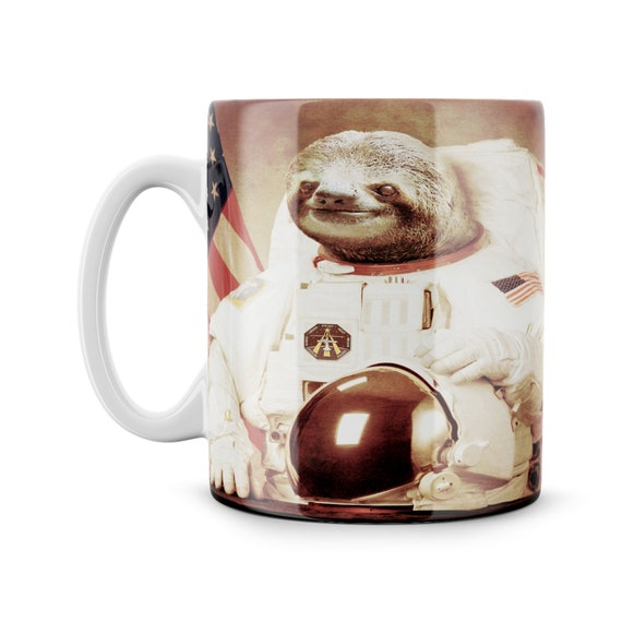 Spaceman Astronaut Space Sloth Cute Animal Lover Funny Gift Meme Funny Geek Nerd Ceramic 11oz Coffee Mug Tea Cup Best