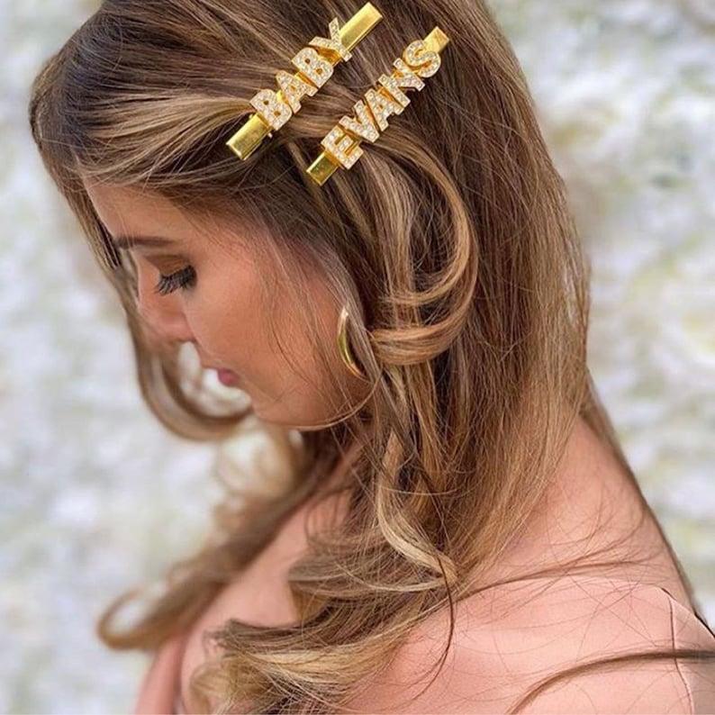 stocking filler hair Clip Hair accessories word hair slides Gold Custom hair Clips Christmas gifts ideas Personalised custom Hair Clip