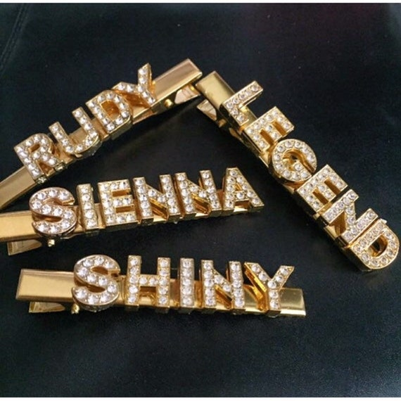 Custom Letter Rhinestone FUNDS Hair Clip Accessories Gold Tone US SELLER