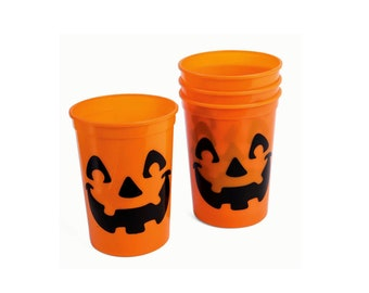 Jack O Lantern Pumpkin Party Cups Birthday Cups Frosted Cups 1401 Personalized Cups Halloween Cups Halloween Party Plastic Cups