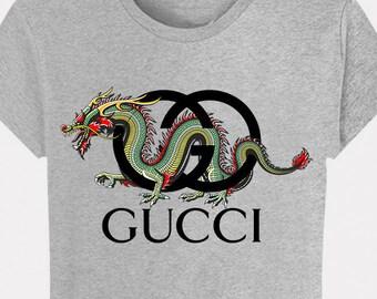 bb707fc6b T-shirt Grey Heather Gucci Dragon men women men S M L XL XXL top shirt  fashion Paris