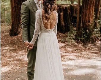 Bohemian Lace Wedding Dress| Long Sleeve Wedding Gown | Boho Bridal Gown | Boho Wedding