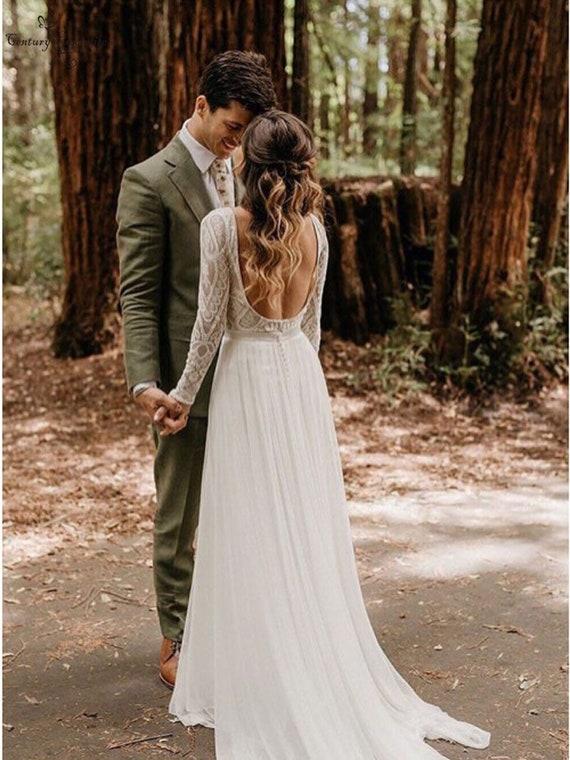 Bohemian Lace Wedding Dress Long Sleeve Wedding Gown Boho Etsy