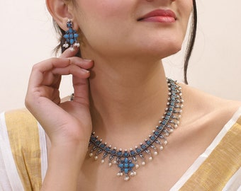 High Quality Oxidized German Silver Plated Turquoise Blue Stones Lakshmi Design Motif Pearl Dropping Choker Necklace Set Boho Indian Jewelry
