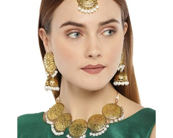 fade98d0 Zaveri Pearls Indian Jewelry Antique Gold Tone Choker Necklace Set Jewellery  Set   Maang Tikka Choker Necklace Earring   Bollywood Jewelry
