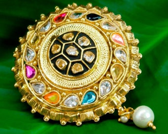 7e7af6b63 Saree Pin Gold Brooch Kundan Pearl Jewelry | Ethnic Wedding Jewelry | Coat  Jacket Safety Pin | Bollywood Party Jewelry | Indian Jewellery