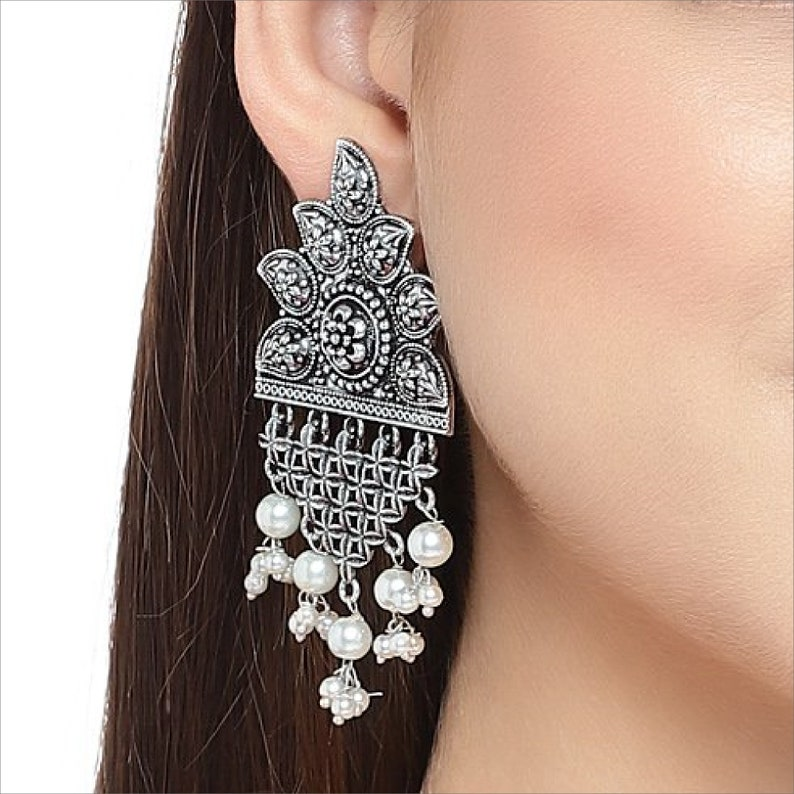 Indian Boho Gypsy Jewelry Designer High Quality German Silver Replica Earring Mango Shape Floral Design /& Pearls Droppings Dangler Earring
