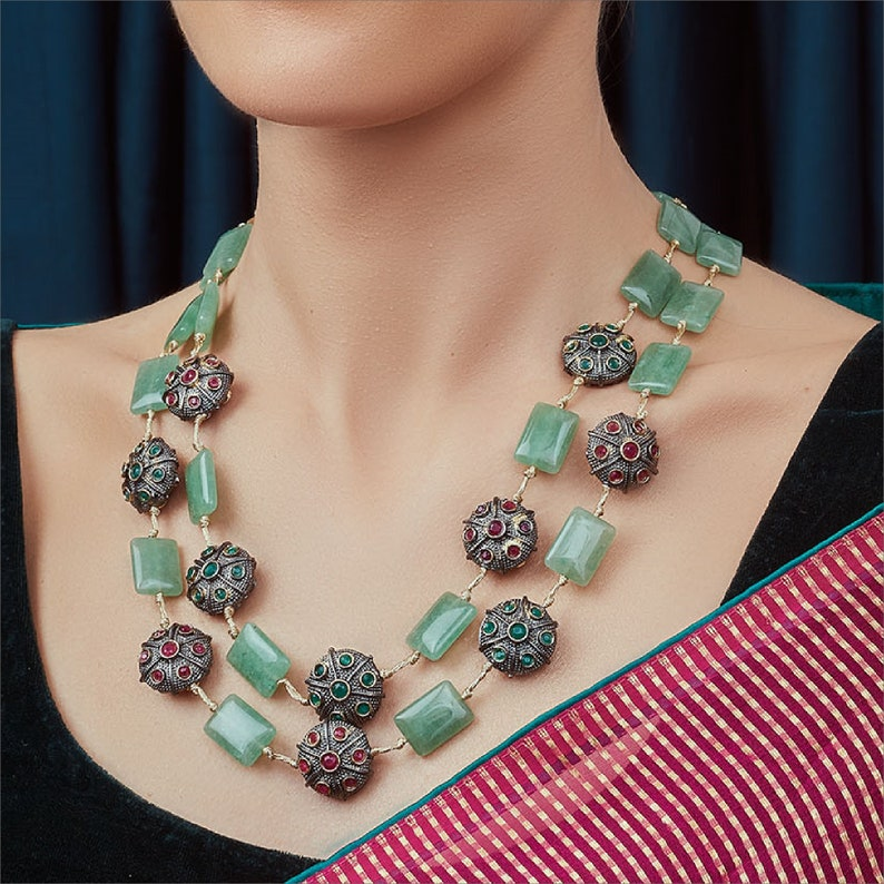 High Quality Gold Plated Kundan /& Green Jades Hydro Rubies And Hydro Emeralds Rectangle Design 2 Layered Necklace Indian Bollywood Jewelry
