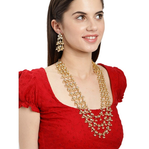 Latest Indian Bollywood Pearl Red Choker Necklace Earring Maang Tika Set Jewelry