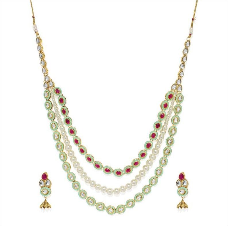 Zaveri Pearls Gold Toned Kundan /& Pink Stones Green Enamel Paint Tear Drop Design Multi Layered Pearl Necklace Set Indian Bollywood Jewelry